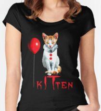 Cats Clown Kitten IT Halloween, Cat halloween Balloon Women's Fitted Scoop T-Shirt