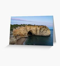 Blue Hour with a Hint of Pink at Vale Covo Sea Cave in Algarve Portugal Greeting Card