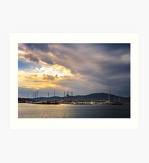 boats in port of Sozopol  at sunset Art Print