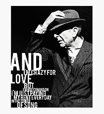 Leonard Cohen Tower Engraving Tribute Photographic Print