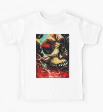 Skull evil death face with old teeth  Kids Tee