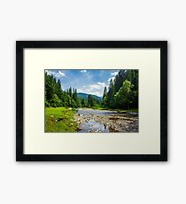 landscape with mountain river Framed Print