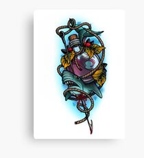 Neotraditional shark and bottle Canvas Print