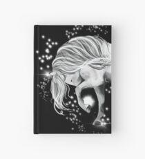 Star dancer - white prancing horse - black background  Hardcover Journal
