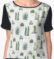 watercolour cacti and succulents Women's Chiffon Top