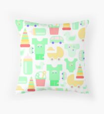 Pattern of baby goods. With the new baby! Throw Pillow