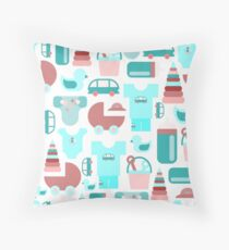 Pattern of baby goods icons. Set of flat icons. With the new baby! Throw Pillow