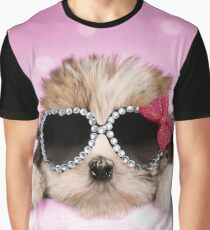 Cute puppy wearing heart shaped glasses Graphic T-Shirt