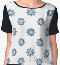 Winter pattern of snowflakes. Abstract snowy background for textiles.  Women's Chiffon Top
