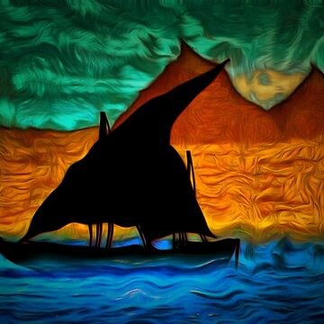 An abstract view of an Egyptian Dhow on the River Nile in the 19th century by ZipaC