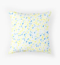 Rainy Day Pattern. Blue and yellow on white Throw Pillow