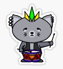 Punk Cat Playing Drums Sticker