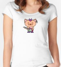 Punk Cat Playing Bass Women's Fitted Scoop T-Shirt