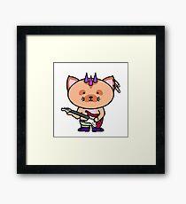 Punk Cat Playing Bass Framed Print