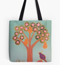 Partridge In A Pear Tree (Gold) Tote Bag