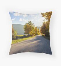road going to mountains Throw Pillow
