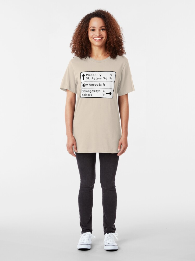 Alternate view of Manchester street sign, roads to Ancoats, Piccadilly, etc.  Slim Fit T-Shirt