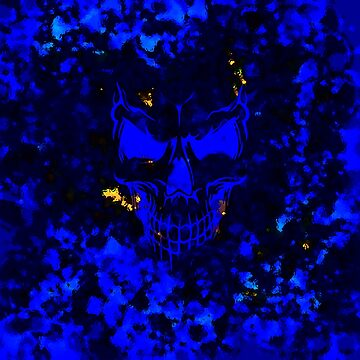 Skull Embers on Blue by akslonetwin