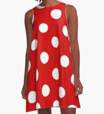 Red and White polka dots | Halloween Outfit A-Line Dress