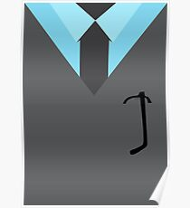 Suit & Tie - Grey with Black Glasses Poster