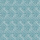 Chic Ethnic Ogee Pattern in Maroon, Teal and Beige by Judy Adamson