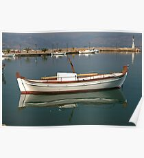 Boat reflection in Nafplion Harbour Poster