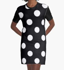 white polka dots on black | Pattern  Graphic T-Shirt Dress