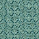 Chic Ethnic Ogee Pattern in Teal and Beige by Judy Adamson