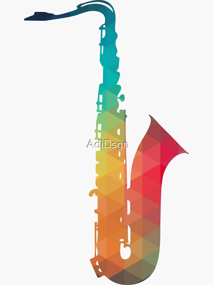 Regenbogen Muster Saxophon Silhouette von AdiDsgn