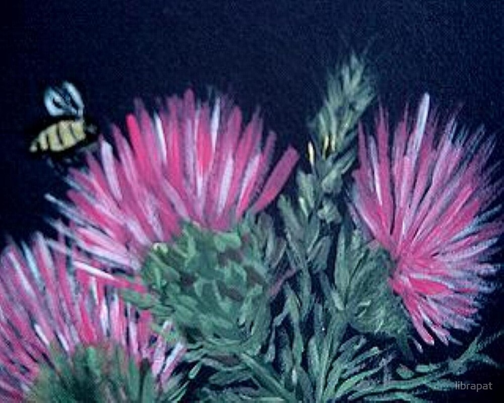 Acrylic Painting of a Thistle and Tiny Bee by librapat