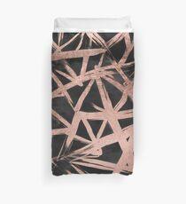 Handdrawn faux rose gold brushstrokes modern stripes triangles pattern Duvet Cover