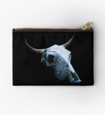 Relaxing Blue & White Drawings Cow Skull Design v.7  Studio Pouch