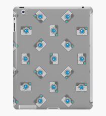 Digital Camera Icon Seamless Pattern on Grey Background. iPad Case/Skin