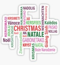 Christmas In Multiple Languages  Sticker