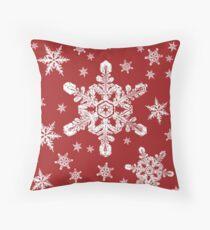 Snowflakes in White + Red   'Tis the Season Series Throw Pillow