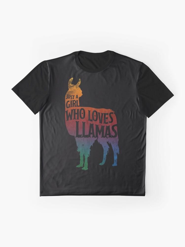 Alternative Ansicht von Mädchen, das Llamas, Lama-Liebhaber liebt Grafik T-Shirt