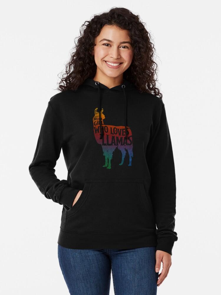 Alternative Ansicht von Mädchen, das Llamas, Lama-Liebhaber liebt Leichter Hoodie
