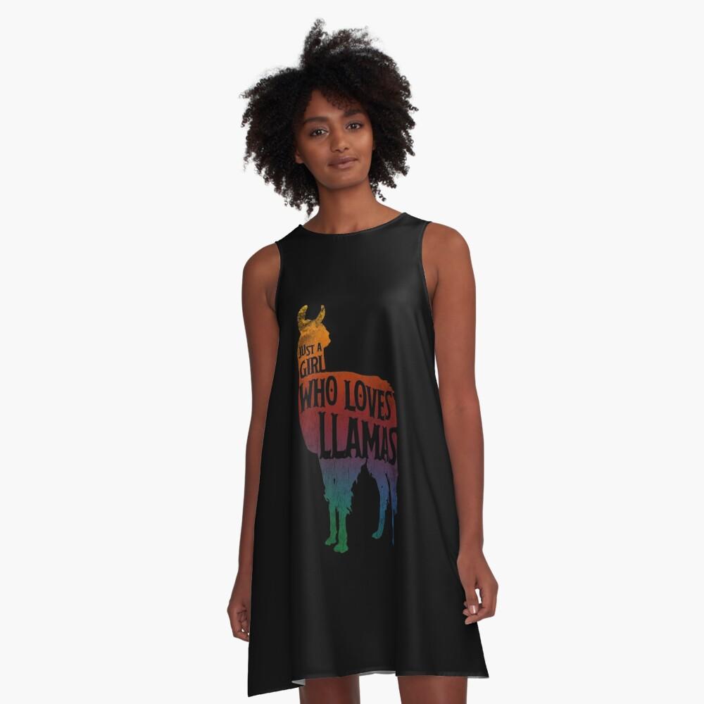 Mädchen, das Llamas, Lama-Liebhaber liebt A-Linien Kleid