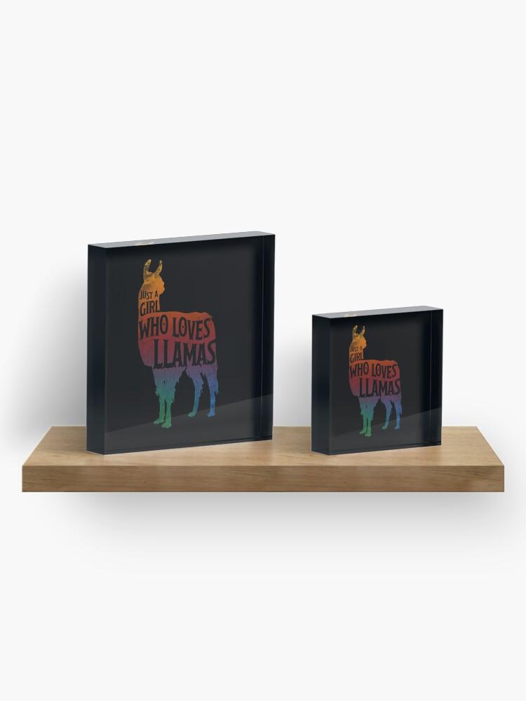 Alternative Ansicht von Mädchen, das Llamas, Lama-Liebhaber liebt Acrylblock