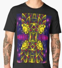Psychedelic ornament. Bright neon forms. Ultraviolet illustration. Abstract glowing pattern Men's Premium T-Shirt