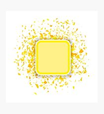 Yellow Confetti Banner Isolated on White Background. Set of Particles. Photographic Print