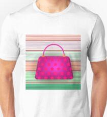 Pink Modern Womens Handbag on Colorful Planks Background. T-Shirt
