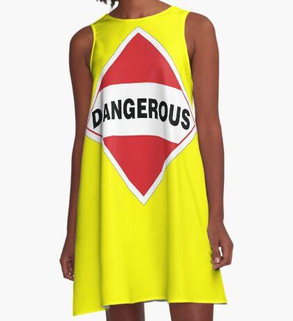 Dangerous Warning Sign A-Line Dress