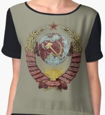 USSR Vintage Coat of Arms V01 Women's Chiffon Top