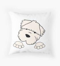 soft coated wheaten terrier peeking Throw Pillow