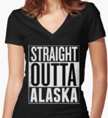 Straight Outta ALASKA shirt, Alaska Lovers T-Shirt Women's Fitted V-Neck T-Shirt