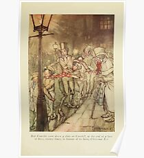 A Christmas Carol by Charles Dickens art by Arthur Rackham 1915 0035 Bob Cratchit went down a slide on Cornhill Poster