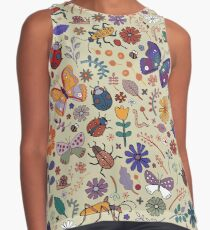 Butterflies, Beetles and blooms - taupe - pretty floral pattern by Cecca Designs Contrast Tank
