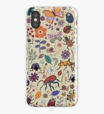 Butterflies, Beetles and blooms - taupe - pretty floral pattern by Cecca Designs iPhone Case/Skin