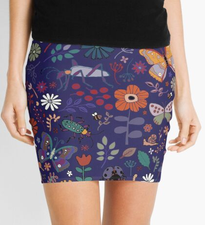 Butterflies, beetles and blooms - French navy - pretty floral pattern by Cecca Designs Mini Skirt